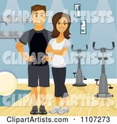 Happy Fit Couple or Personal Trainers near Spin Bikes in a Gym