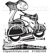 Happy Girl Catching Air on Her Scooter Black and White Woodcut
