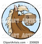 Happy Horse Face over a Blue Circle