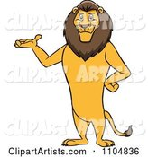 Happy Male Lion Presenting and Standing Upright
