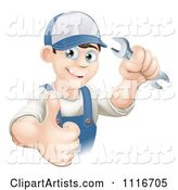 Happy Mechanic Plumber or Handy Man WorkerHolding a Thumb up and a Wrench