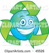 Happy Planet Earth Smiling and Being Circled by Recycle Arrows