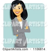 Happy Professional Asian Business Woman with Folded Arms over a Blue Square