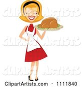 Happy Retro Blond Woman Carrying a Roasted Thanksgiving or Christmas Turkey on a Platter