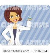 Happy Scientist Woman Holding up a Beaker over Stripes