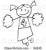 Happy Stick Cheerleader Girl Holding Pom Poms