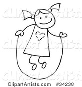 Happy Stick Girl with Her Hair in Pig Tails, Jumping Rope