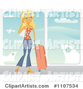 Happy Traveling Blond Woman Talking on Her Cell Phone at an Airport