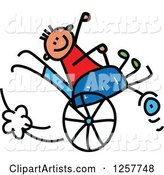 Happy White Disabled Stick Boy Playing in His Wheelchair