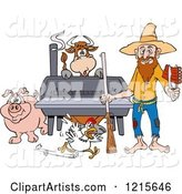 Hillbilly Man with a Rifle, Holding Ribs by a Bbq Smoker with a Cow Chicken and Pig
