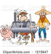 Hillbilly Man with a Rifle, Standing by a Bbq Smoker with a Cow Chicken and Pig