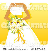 Hispanic Bride Holding a Sunflower and Lily Bouquet over Yellow