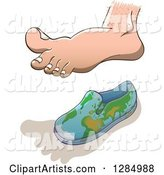 Human Foot Casting a Shadow over a Small Globe Shoe for Earth Overshoot Day