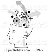 Human Head in Profile, Brainstorming with Arrows, Circles, Questions and Atoms