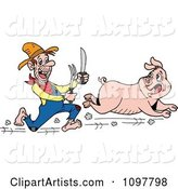 Hungry Hillbilly Man Chasing a Pig with a Knife and Fork