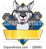 Husky School Mascot Logo over a Blue Diamond with a Blank Gold Banner