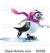 Jolly Blue Eyed Penguin Wearing Ear Muffs and a Scarf, Having Fun While Ice Skating on Frozen Water on a Winter Day