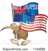 Kiwi Bird with New Zealand and American Flags
