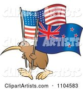 Kiwi Bird with New Zealand and USA Flags
