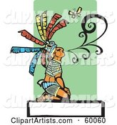 Kneeling Mayan Chief Blowing Smoke near a Butterfly, over a Blank Sign