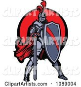 Knight Standing with a Shield and Sword over a Red Circle
