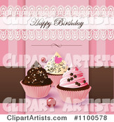 Lacy Happy Birthday Greeting over Cupcakes on Pink and Brown