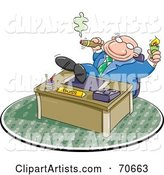Lazy Boss Smoking a Cigar and Relaxing with His Feet on His Desk