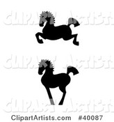 Leaping and Proud Black Silhouetted Oriental Horses in Profile