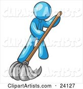 Light Blue Man Wearing a Tie, Using a Mop While Mopping a Hard Floor to Clean up a Mess or Spill