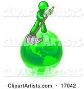 Lime Green Man Using a Wet Mop with Green Cleaning Products to Clean up the Environment of Planet Earth