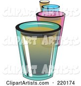 Line of Colorful Shot Glass Alcoholic Beverages