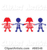 Line of Red and Blue Paper Doll Boys and Girls Holding Hands