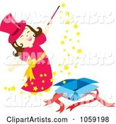 Little Magician Girl Doing Magic