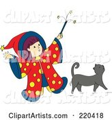 Little Wizard Girl Holding up Her Magic Wand over Her Gray Cat