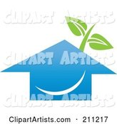 Logo Design of a Happy Blue House and Plant