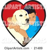 Loving Boy Hugging His Yellow Labrador Retriever Dog in a Red Heart