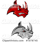 Mad Red and Gray Rhino Face Logos
