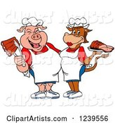 Male Chef Pig Holding Ribs and Female Chef Cow Holding Brisket