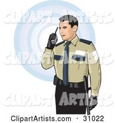 Male Security Guard in Uniform, Speaking Through a Walkie Talkie, over a White Background with Blue Circles