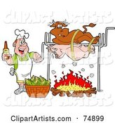 Man Holding a Bottle of Bbq Sauce and Cooking a Cow and Pig over a Fire