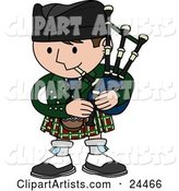 Man Playing Bagpipes and Wearing a Kilt in Scotland