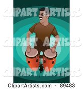 Man Standing and Playing Conga Drums