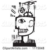 Man with a Gear Pulley Brain Black and White Woodcut