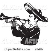 Mariachi Band Man Wearing a Sombrero and Playing a Trumpet