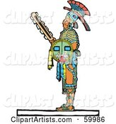 Mayan Warrior Standing with a Shield and Sword