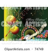 Merry Christmas Casino Greeting with Baubles and Casino Items on Green