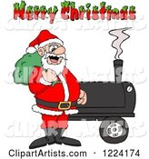 Merry Christmas Greeting over Santa by a Bbq Smoker