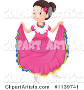 Mexican Folk Dancer Girl in Pink