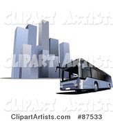 Modern Bus in Front of Tall Skyscrapers