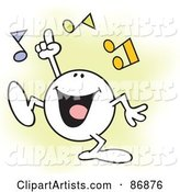 Moodie Character Doing His Happy Dance, with Music Notes